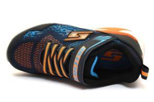 skechers 90563l nvor blu arancione sneaker SCARPE BAMBINO STRAPPI luci palestra