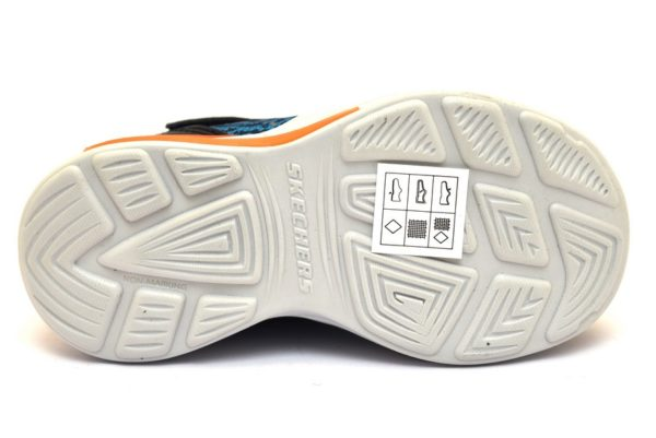 skechers 90563n nvor blu arancione sneaker bambino strappi scarpe luci scarpe estive primavera palestra