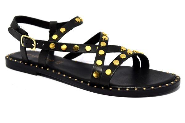 cafènoir ige124 010 nero oro ge124 sandali donna cinturino borchie vera pelle