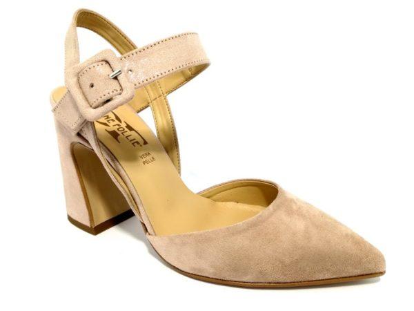 divine follie 630pe cipria sandali donna scamosciati cinturino tacco vera pelle estate