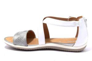 geox d92r6f 0hhbn c0007 d sand vega bianco argento sandali donna cerniera zip cinturino vera pelle tempo libero etstate
