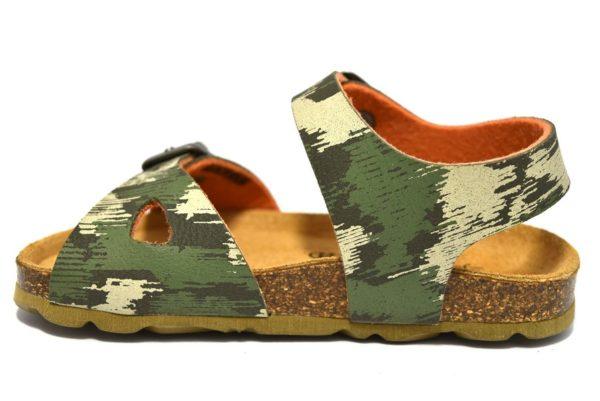 grunland aria sb0386 40 oliva arancio sandali BAMBINO FIBIE MILITARE SUGHERO VERA PELLE ESTATE