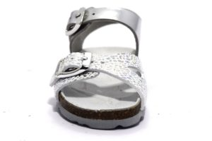 grunland aria sb1221 40 argento bianco sandali bambina pelle fibbia cinturino sughero