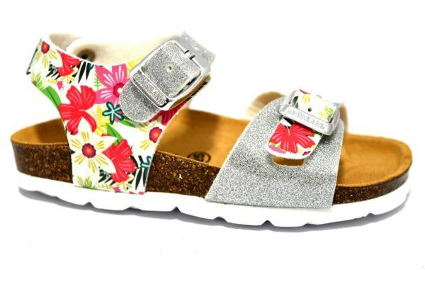 grunland luce sb1263 40 argento fantasi sandali fiori brillantini glitter sughero vera pelle fibie