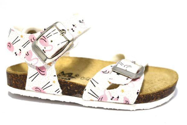 primigi 3426844 bianco sandali bambina cinturino fibie sughero fenicottero stampa estate