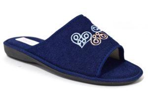 3rose 110 blu ciabatte pantofole con fodera in spugna di cotone con zeppa adatte per essere usate in casa