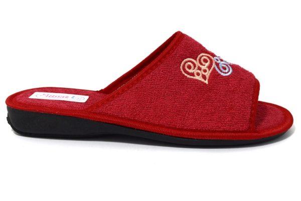 3rose 110 rosso ciabatte pantofole con fodera in spugna di cotone con zeppa adatte per essere usate in casa