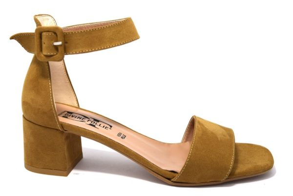 divine follie 3349 cuoio sandali da donna eleganti con tacco medio e cinturino alla caviglia made in italy