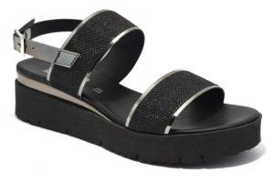 divine follie 76070 nero fucile sandali da donna con zeppa e con cinturino alla caviglia