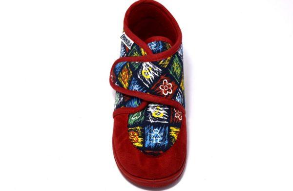 emanuela 419 rosso pantofole da bambinocon lo strappo per la scuola materna e per la casa_ sottopiede in vero cuoio
