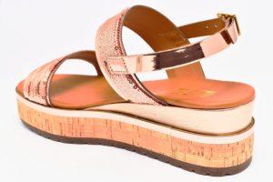 divine follie 78120 cipria rame sandali da donna con zeppa in laminato con cinturino alla caviglia