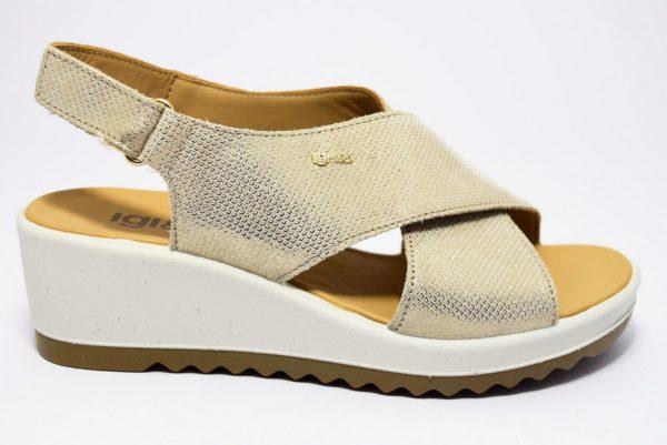igi e co 3172155 platino sandali a zeppa da donna a fasce incrociate con cinturino a strappo alla caviglia