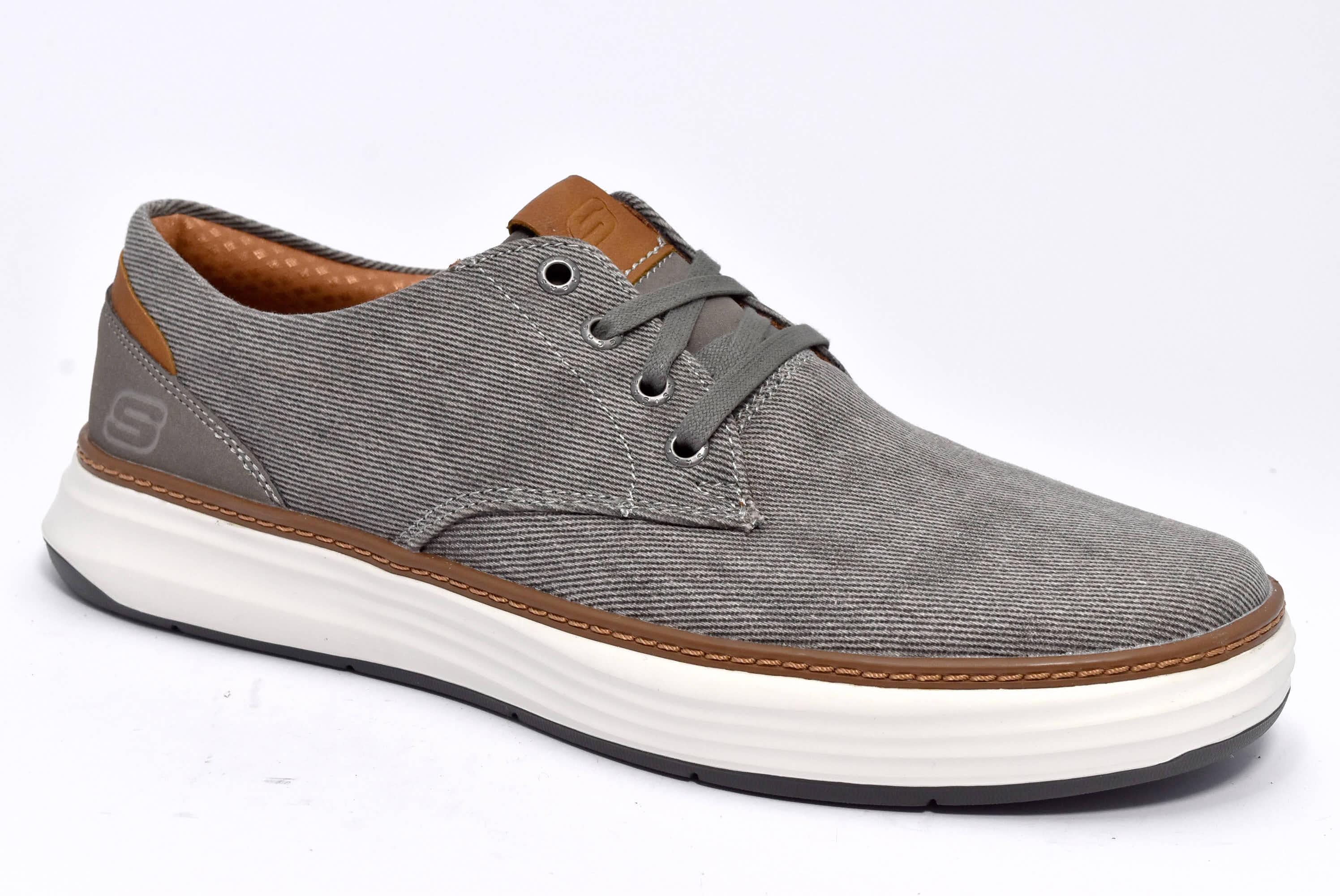 Dettagli su SKECHERS 65981 TPE TAUPE Grigio Scarpe Estive Sneaker Uomo  Memory Foam Tessuto