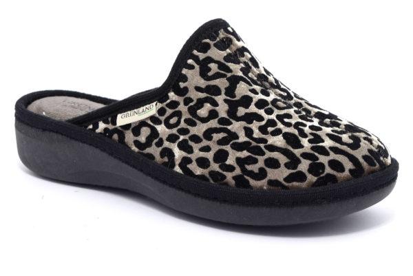grunland alde ci1677 47 taupe leopardato ciabatte pantofole panno zeppa invernali da donna collezione autunno inverno