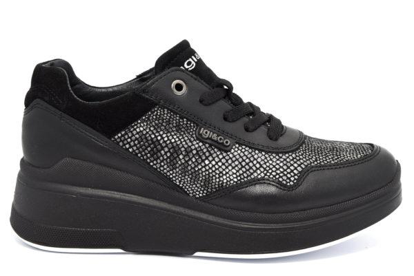 igieco 4141500 nero scarpe sneakers con zeppa invernali da donna autunno inverno