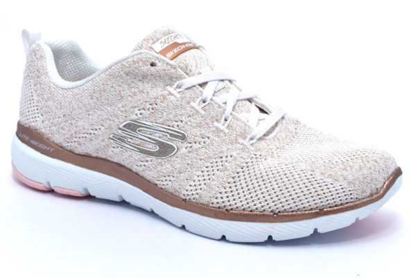 skechers 13078 wtrg bianco rose gold metal works sneakers scarpe da ginnastica da donna in mesh autunno inverno