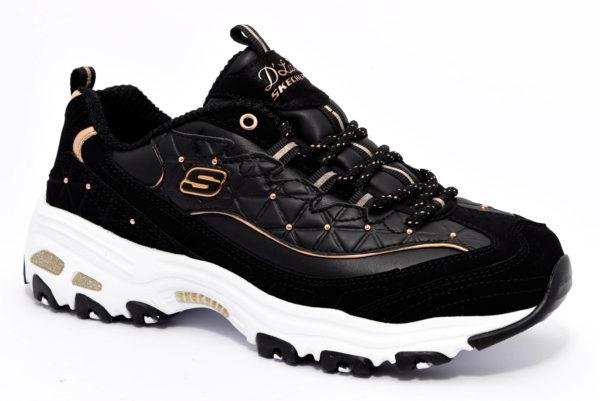 skechers 13087 bkrg nero rose gold d lites scarpe sneakers memory foam air cooled invernali da donna collezione autunno inverno
