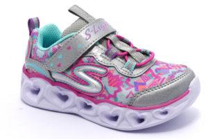 skechers 20180n smlt silver argento multi scarpe sneakers luci invernali bambina collezione autunno inverno