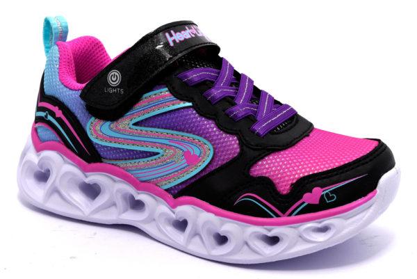 skechers 20294l bkmt nero multi scarpe sneakers luci invernali bambina collezione autunno inverno