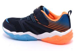 skechers 90725l nvor blu arancione scarpe sneakers luci strappi invernali bambino collezione autunno inverno