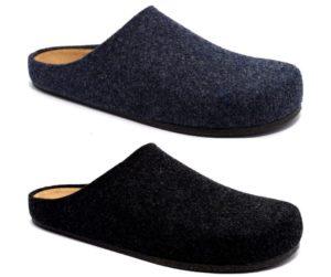 bio alpes 1949 jeans antracite immagine multipla merinos pantofole ciabatte tirolesi lana cotta feltro plantare in sughero naturale e pelle collezione autunno inverno
