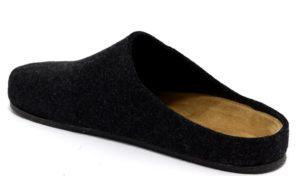 bio alpes 1949 merinos antracite Pantofole ciabatte tirolesi lana cotta feltro plantare pelle