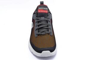 skechers 52558 ccmt grigio arancio scarpe stringhe memory foam air cooled sneakers invernali da uomo collezione autunno inverno