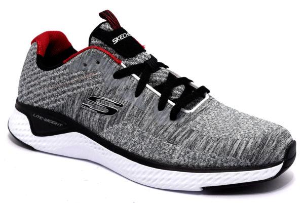 skechers 52758 gybk grigio nero scarpe stringhe memory foam air cooled sneakers invernali da uomo collezione autunno inverno