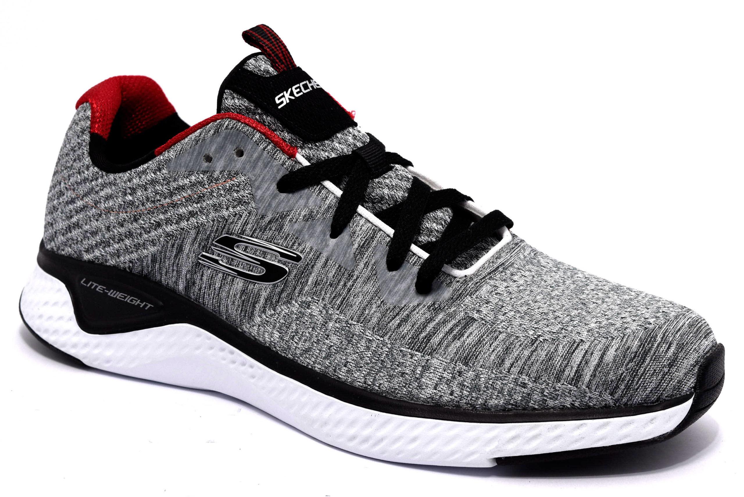 Dettagli su SKECHERS 52758 GYBK Grigio Nero Scarpe Stringhe Memory Foam Cooled Sneakers Uomo