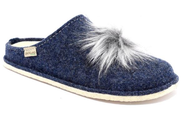 grunland gaur ci2276 44 blu ciabatte pantofole lana cotta da infilare zeppa ciabatte pantofole invernali da donna collezione autunno inverno