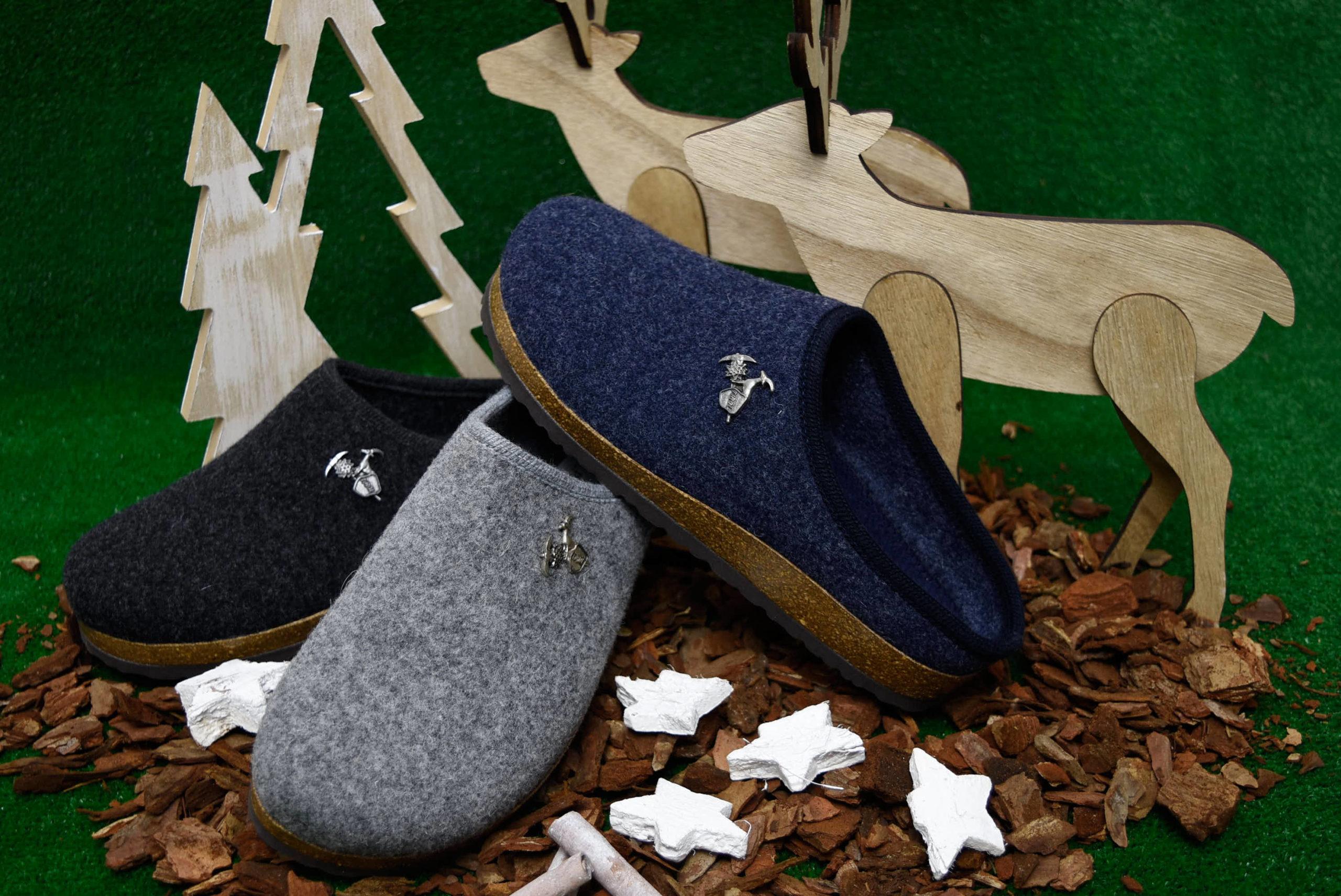 bio alpes 976 jeans grigio antracite ciabatte natalizie da donna pantofole tirolesi calzature tradizionali altoatesine feltro lana cotta