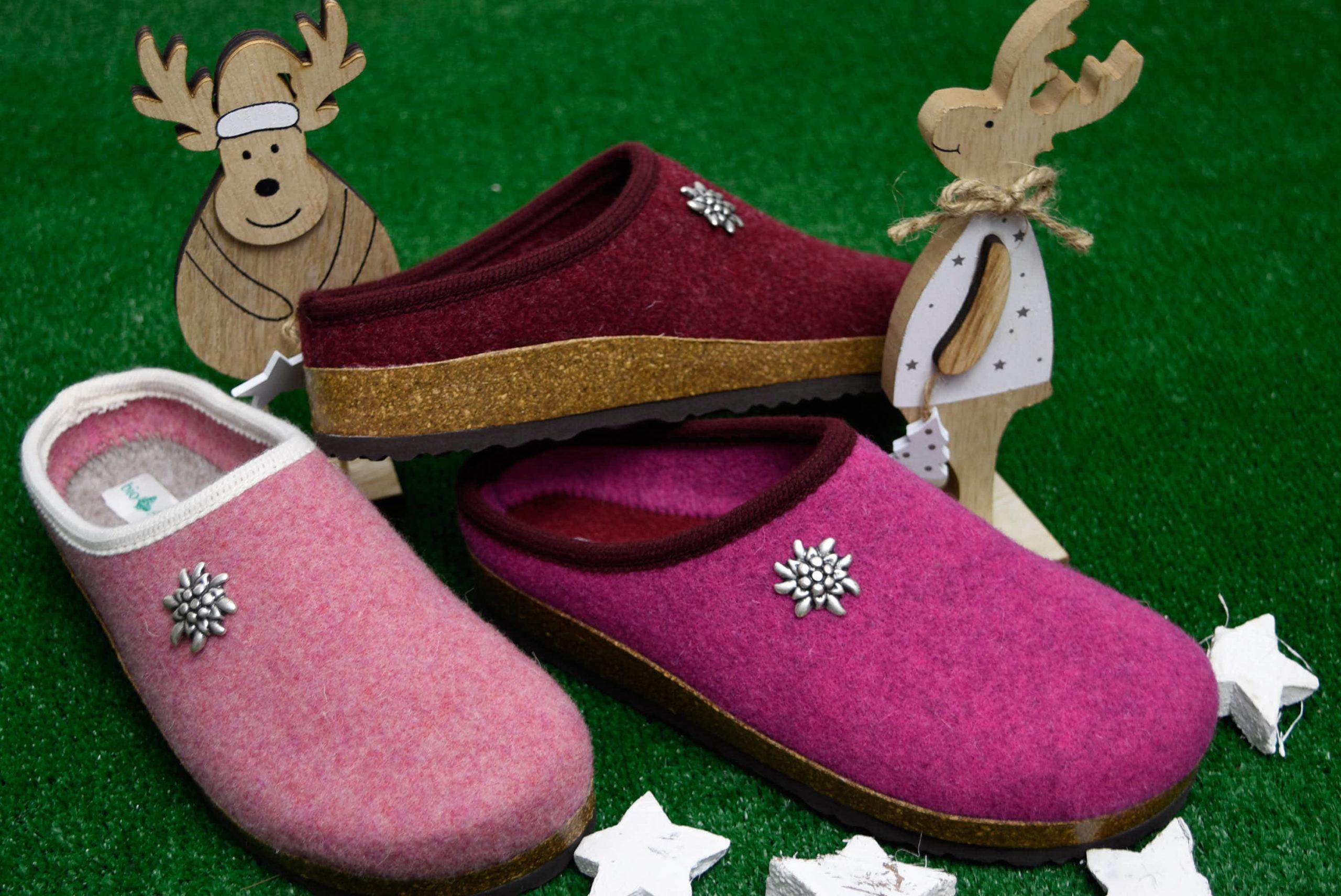 bio alpes 977 fior di pesco ciclamino bordo ciabatte natalizie da donna pantofole tirolesi calzature tradizionali altoatesine feltro lana cotta idea regalo
