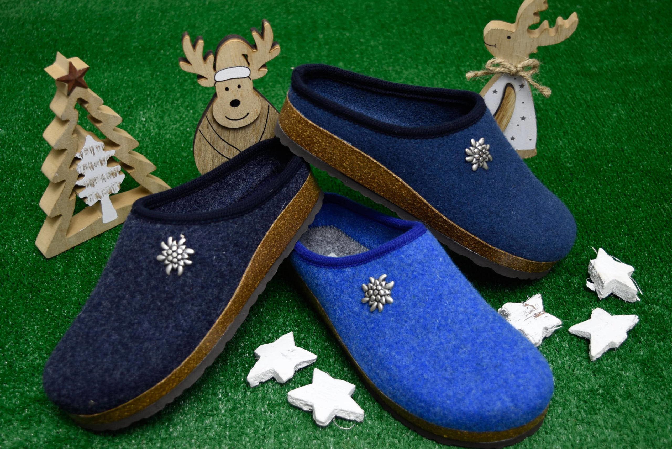 bio alpes 977 jeans avion celeste ciabatte natalizie unisex pantofole tirolesi calzature tradizionali altoatesine feltro lana cotta idea regalo