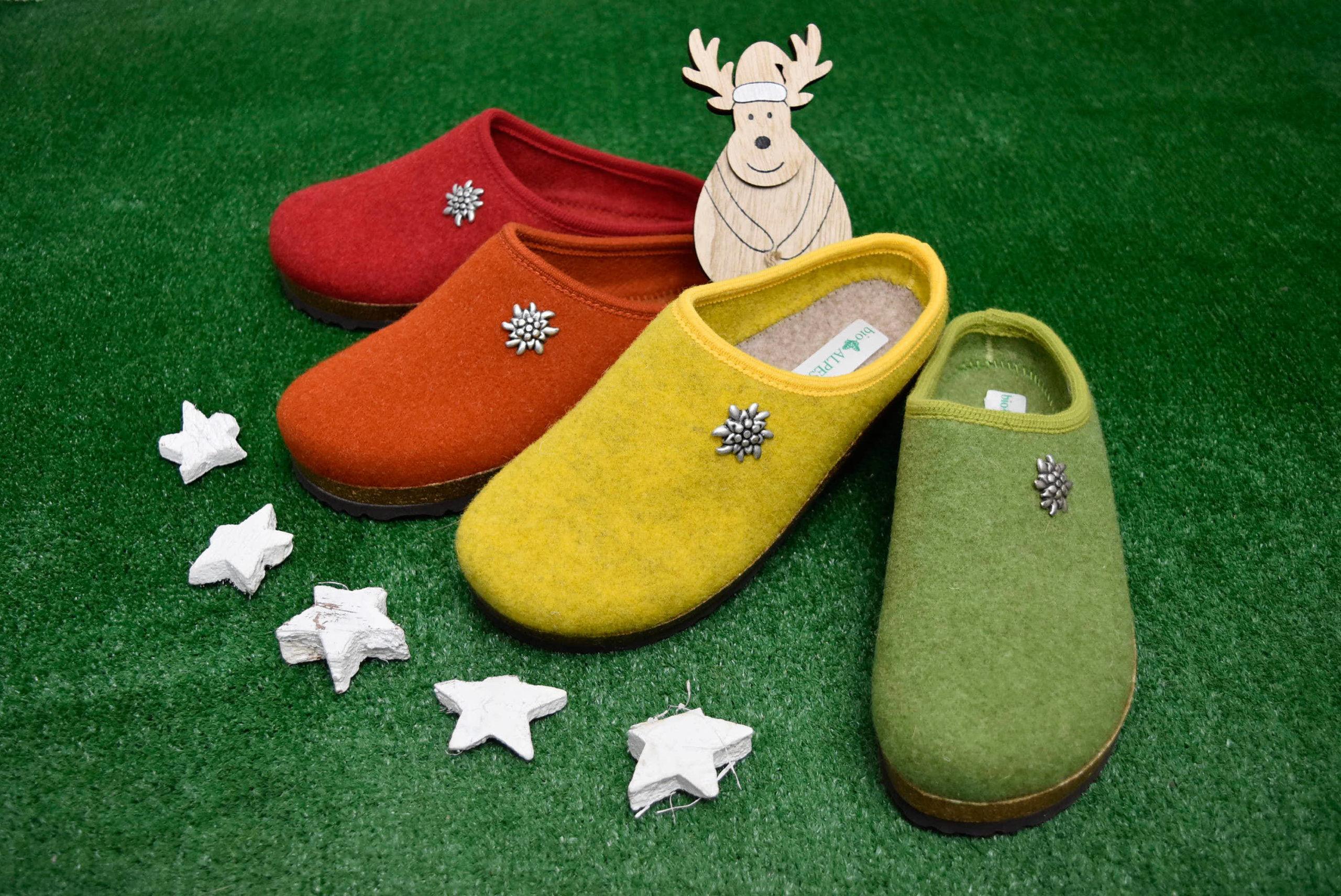 bio alpes 977 rosso ribes giallo verde arancione ciabatte natalizie da donna pantofole tirolesi calzature tradizionali altoatesine feltro lana cotta idea regalo