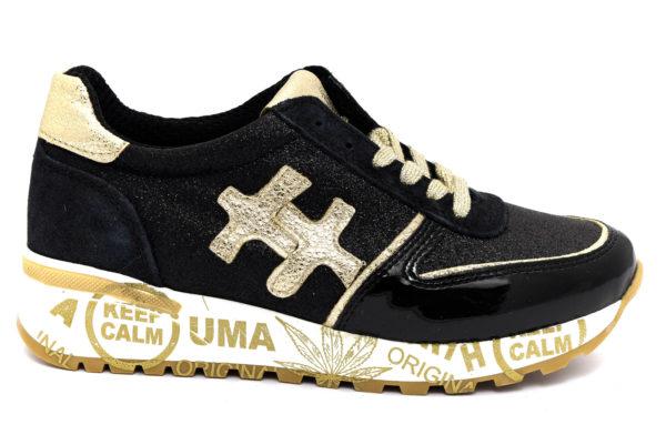 divine follie prd glitter nero scarpe ecopelle lacci zeppa sneakers invernali da donna collezione autunno inverno