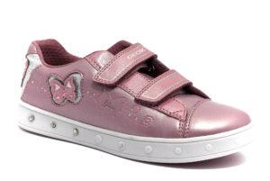 geox j948wc 0nfkn c8007 skylin dk rose rosa scarpe ecopelle strappi luci sneakers invernali da bambina collezione autunno inverno
