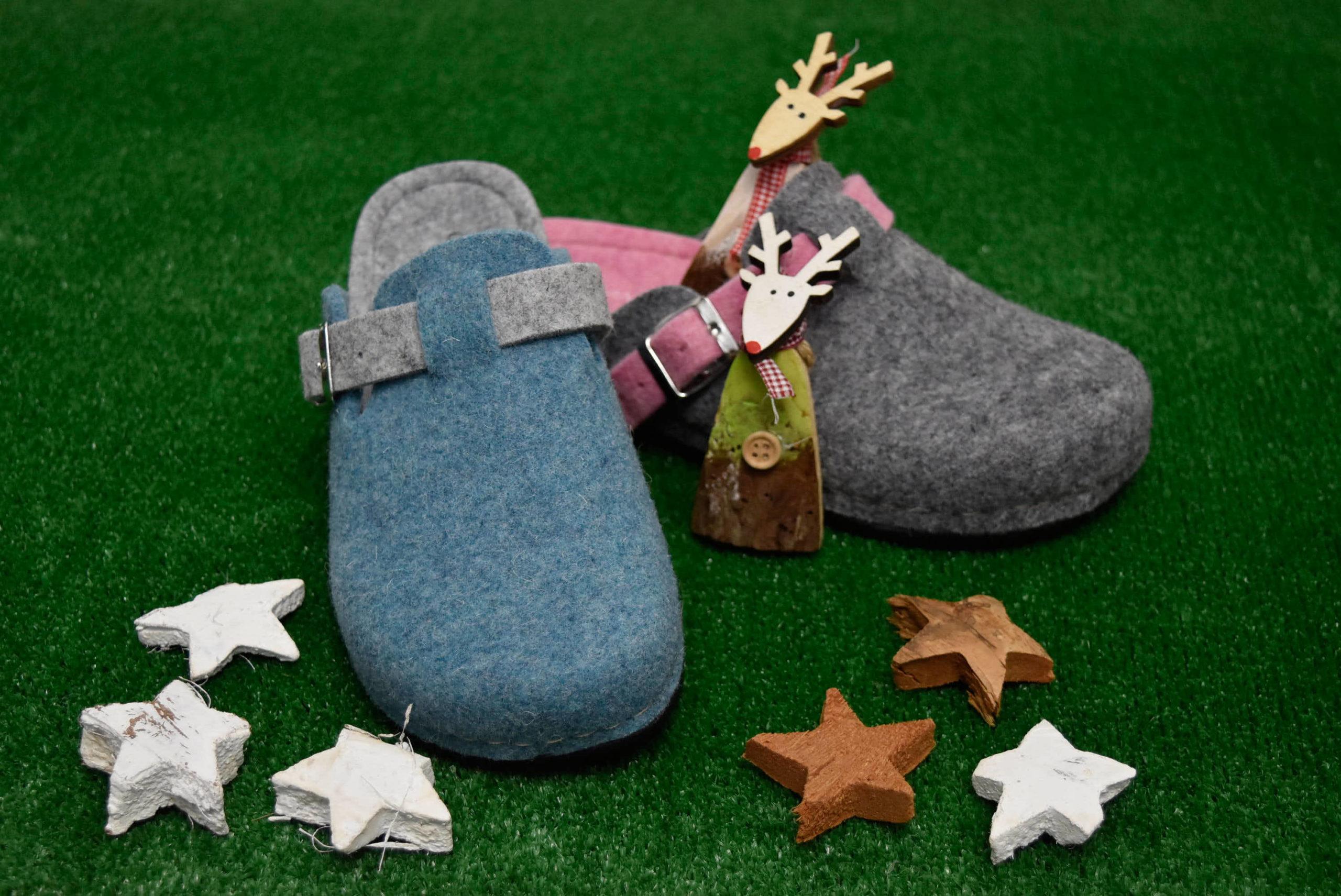 grunland ci0795 a6 grigio rosa azzurro ciabatte da donna natalizie pantofole tirolesi calzature tradizionali altoatesine feltro lana cotta idea regalo