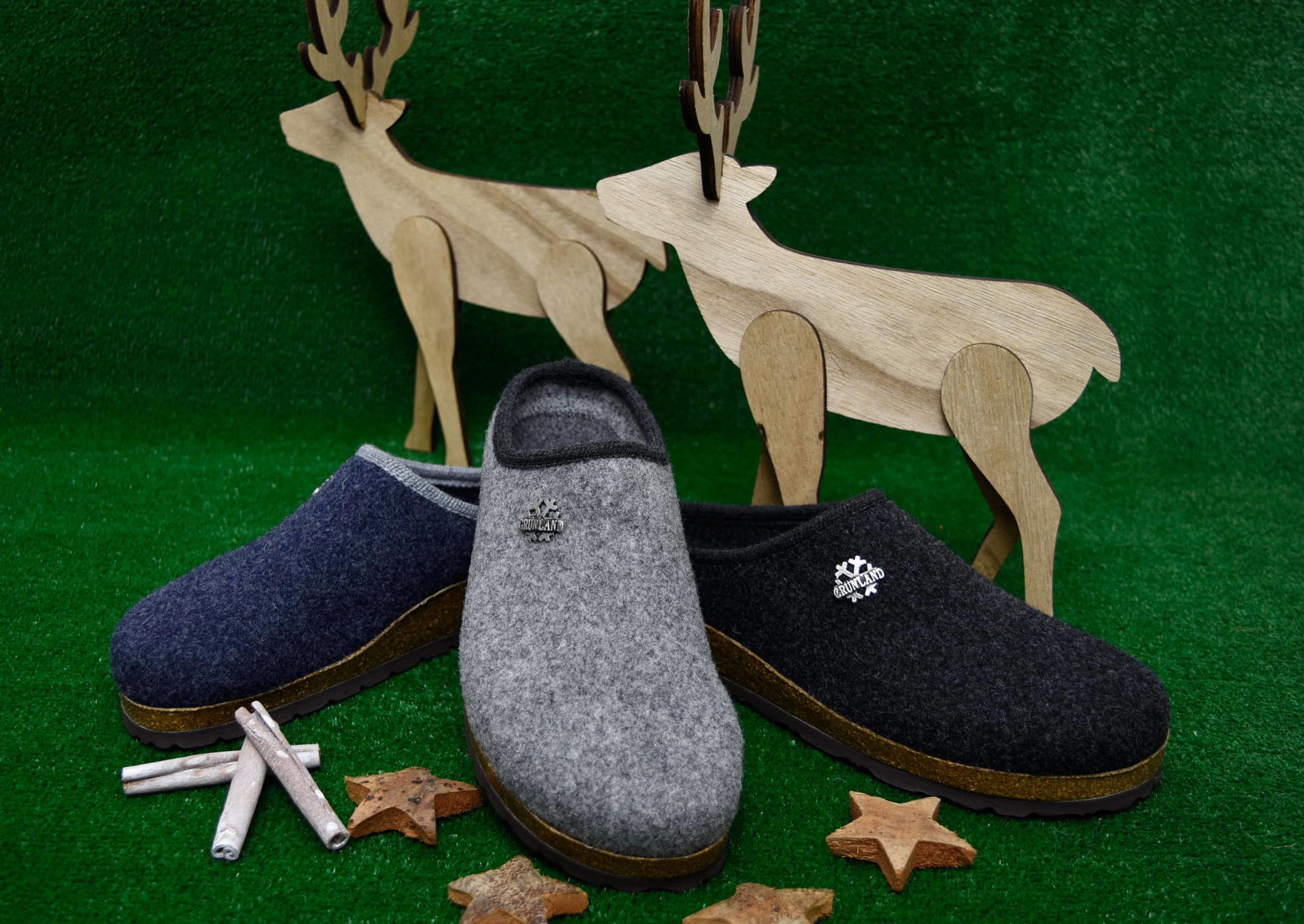 grunland robi cb0173 11 grigio antracite jeans ciabatte da uomo natalizie pantofole tirolesi calzature tradizionali altoatesine feltro lana cotta idea regalo