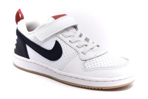 nike 870025 105 court borough low bianco blu scarpe vera pelle strappi sneakers da bambino collezione autunno inverno