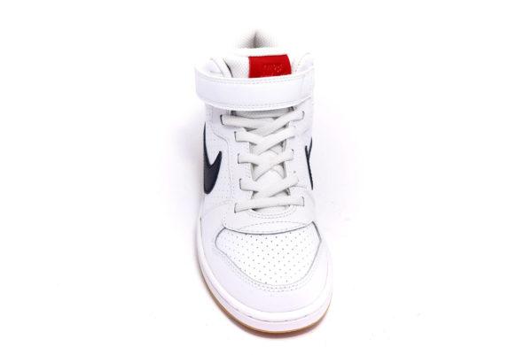 nike 870026 107 court borough mid bianco blu scarpe vera pelle strappi sneakers da bambino collezione autunno inverno