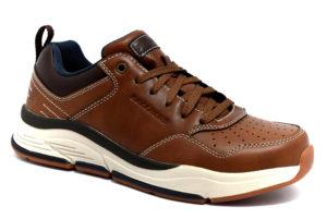 skechers 66204 brn benago treno brown cuoio scarpe vera pelle lacci sneakers invernali da uomo collezione autunno inverno