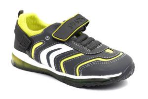 geox b9484a 0bubn c0666 todo grigio scarpe ecopelle strappi luci sneakers invernali da bambino collezione autunno inverno