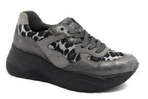 igieco 4149511 antracite grigio scarpe vera pelle lacci platform animalier leopardato sneakers invernali da donna collezione autunno inverno