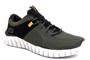 skechers 52815 olbk olive verdone nero scarpe sintetico lacci memory foam air cooled sneakers invernali da uomo collezione autunno inverno