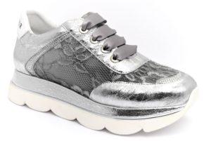 cafenoir gdb174 204 db174 argento scarpe ecopelle lacci zeppa sneakers estive da donna collezione primavera estate