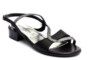 galapagos 12894wl nero piombo scarpe vera pelle fibbia tacco basso sandali estive da donna collezione primavera estate