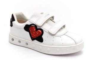 geox j928wc 000bc c1000 skylin bianco scarpe ecopelle strappi sneakers estive da bambina collezione primavera estate