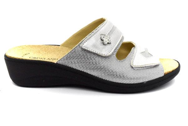 grunland esta ce0699 68 grigio ciabatte pantofole vera pelle strappi plantare in sughero ciabatte, pantofole estive da donna collezione primavera estate