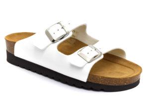 grunland hola cb2445 11 bianco ciabatte pantofole vera pelle fibbia zeppa ciabatte pantofole estive da donna collezione primavera estate