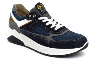 igieco 5131933 blu scarpe vera pelle lacci sneakers estive da uomo collezione primavera estate